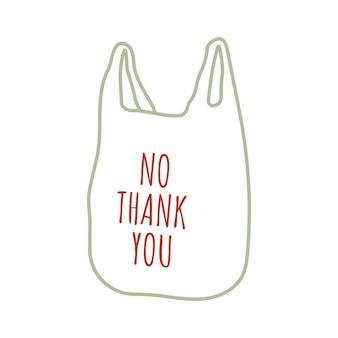 Nessun concetto di sacchetto di plastica ridurre il riutilizzo zero rifiuti illustrazione disegnata a mano