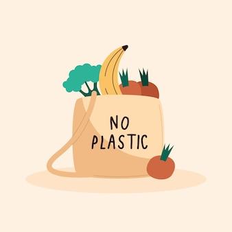 Nessuna scritta di plastica nella borsa della spesa