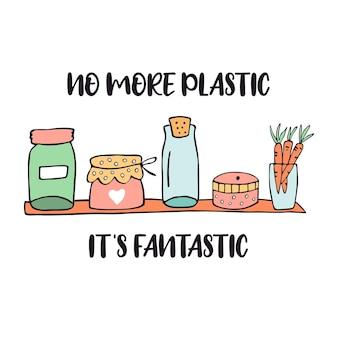 Nessun poster di plastica con ripiano senza plastica. niente più plastica è fantastico. banner disegnato a mano