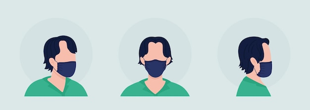 Set di avatar di personaggi a colori semi-piatti per chi indossa una maschera senza pieghe