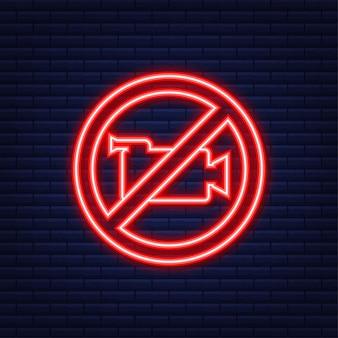 Nessuna registrazione. icona della fotocamera. foto su sfondo bianco. segnale di stop. stile neon. illustrazione vettoriale.