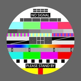Nessun segnale tv, schermo di prova della televisione in caso di assenza di segnale. scheda di prova o modello, sfondo dei grafici di prova di risoluzione tv. illustrazione vettoriale.