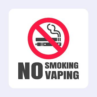 Non fumare nessun segno di svapo icona segno proibito isolato su sfondo bianco illustrazione vettoriale