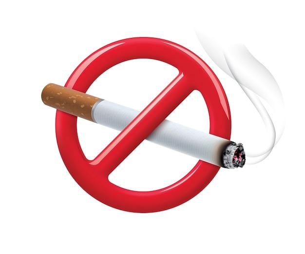 Nessun segno di fumare isolato su bianco