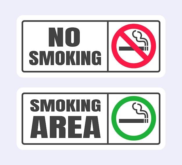Set di cartelli per non fumatori e per fumatori icona segno proibito isolato su sfondo bianco