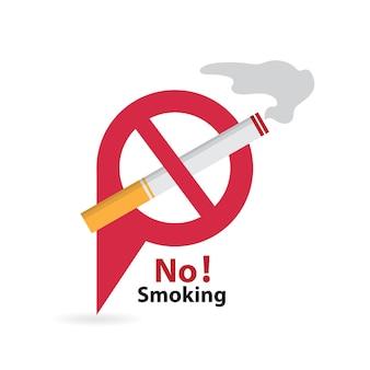 Distintivo dell'icona del rischio di incendio di sigaretta fumatori e fumatori area fumatori e non fumatori
