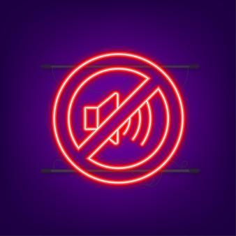 Nessun suono del telefono. icona al neon. chiamata telefonica. icona del telefono cellulare. illustrazione vettoriale.