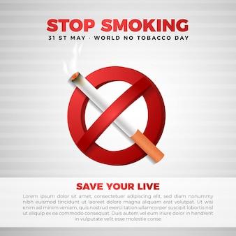 No e smetti di fumare con il segno di sigaretta realistico 3d