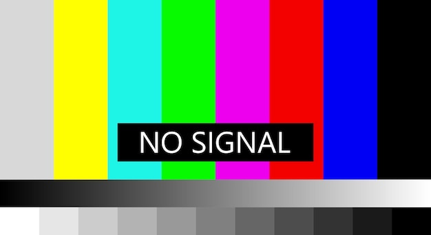 Nessun segnale televisivo. non ricevendo un simbolo di segnale, lo schermo visualizza un messaggio di errore del modello di barre di colore, problema con la connessione. 4k, risoluzioni full hd. illustrazione vettoriale.
