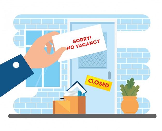 Nessun posto vacante, scusate, disoccupazione coronavirus covid 19, crisi globale, disegno di illustrazione di società di facciata