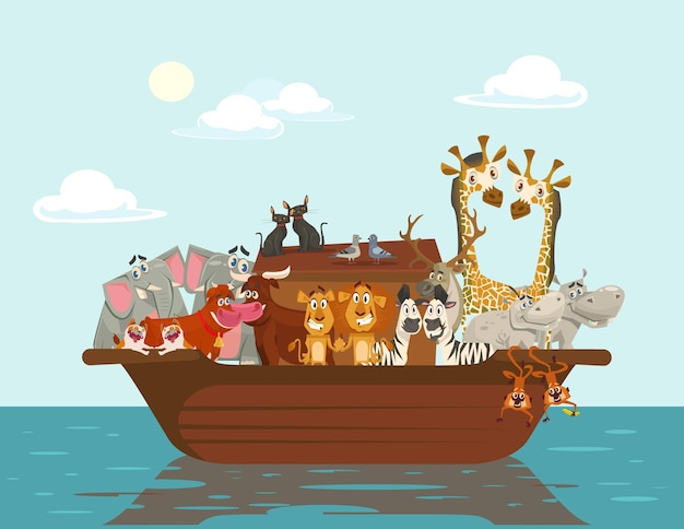 Arca di noè, illustrazione piatta del fumetto