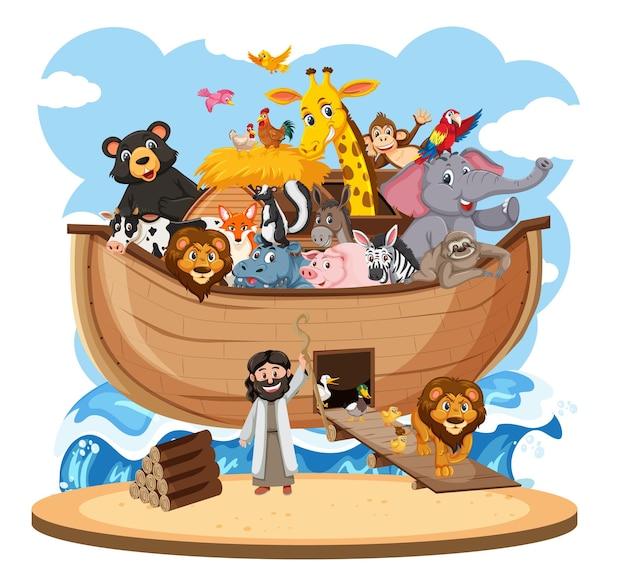 Arca di noè con animali isolati su sfondo bianco