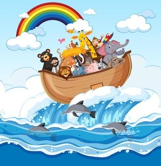 Arca di noè con animali nella scena dell'oceano