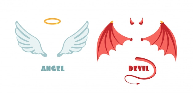 Nessuno vestito da angelo e diavolo. simboli vettoriali innocenti e maliziosi