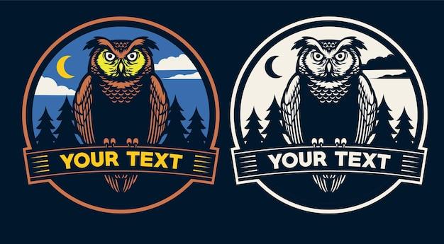 Design distintivo del gufo notturno Vettore Premium