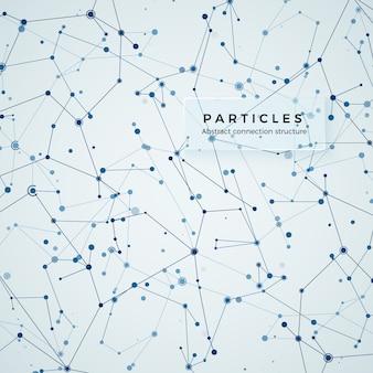 Nodo, punti e linee. fondo grafico geometrico astratto di complessità. struttura dell'atomo, molecola e comunicazione. complesso di big data con composti. visualizzazione dei dati digitali. illustrazione