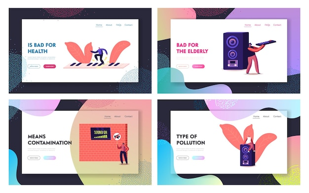 Insieme di modelli di pagina di destinazione dell'inquinamento acustico.