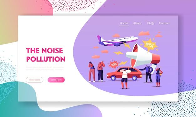 Modello di pagina di destinazione dell'inquinamento acustico. Vettore Premium