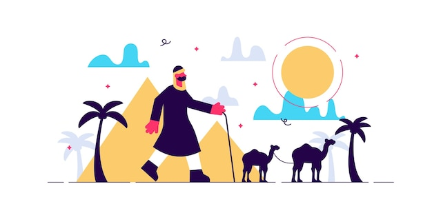 Nomad nell'illustrazione del deserto