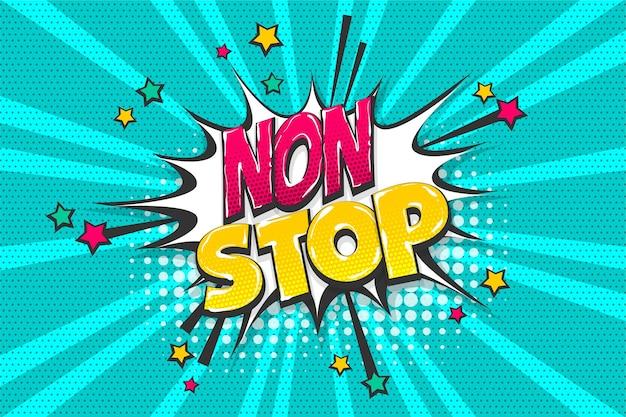 Frase non stop wow colorata raccolta di testi a fumetti effetti sonori stile pop art bolla di discorso