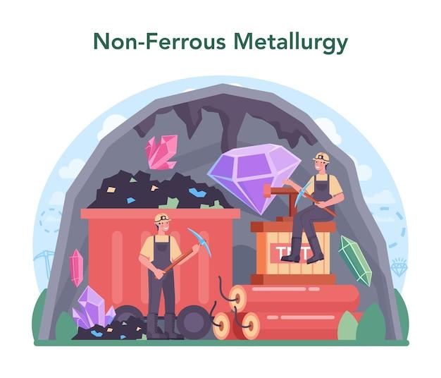 Concetto di metallurgia non ferrosa estrazione e produzione di minerali