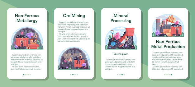 Set di banner per applicazioni mobili per la metallurgia non ferrosa. estrazione del minerale