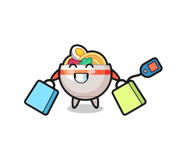 Fumetto della mascotte della ciotola di noodle che tiene una borsa della spesa, design in stile carino per maglietta, adesivo, elemento logo
