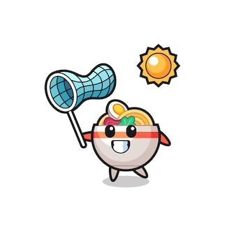 L'illustrazione della mascotte della ciotola di noodle sta catturando la farfalla, il design in stile carino per la maglietta, l'adesivo, l'elemento del logo