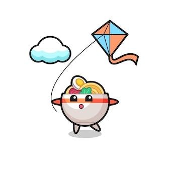 L'illustrazione della mascotte della ciotola di noodle sta giocando a un aquilone, un design in stile carino per maglietta, adesivo, elemento logo