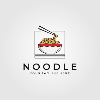 Cibo a base di noodle con logo di bacchette
