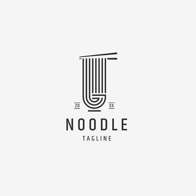 Modello di progettazione del logo di noodle ramen food flat