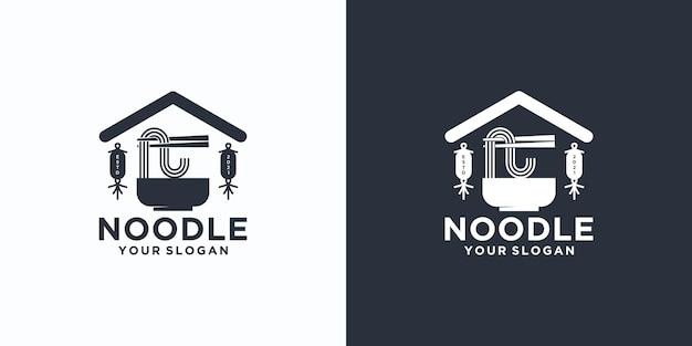 Riferimento logo noodle, con stile iniziale, negozio di noodle, ramen, udon, negozio di alimentari e altro.