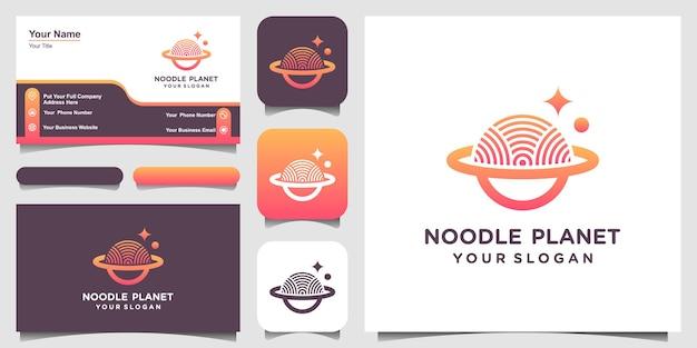 Modello di disegni di logo del pianeta della tagliatella. noodle combinato con il segno del pianeta.