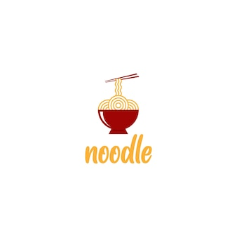 Noodle o ramen logo design vettoriale in ciotola rossa