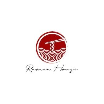 Vettore di disegno del logo di noodle o ramen
