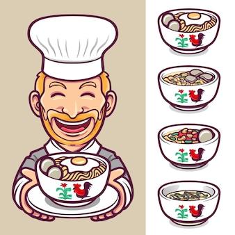 Tagliatelle cibo chef etichetta carattere logo set illustrazione