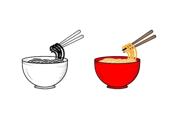 Schizzo e colore dell'illustrazione disegnata a mano delle tagliatelle