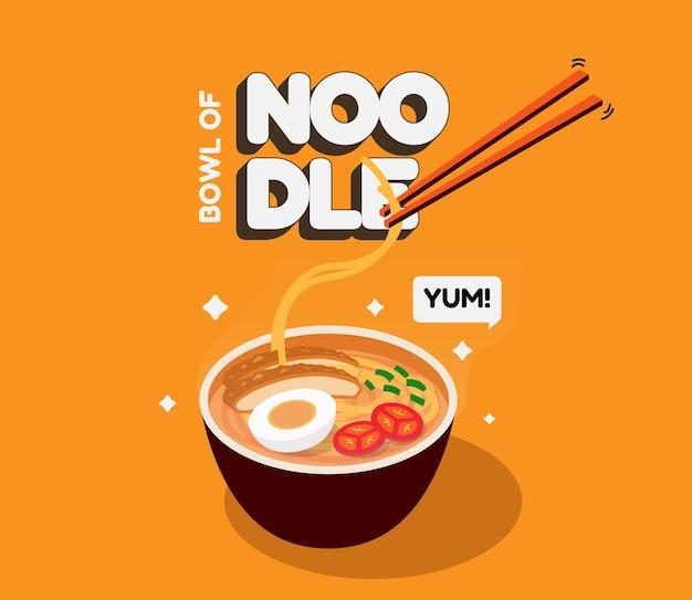 Illustrazione di noodles in isometrica con vari condimenti