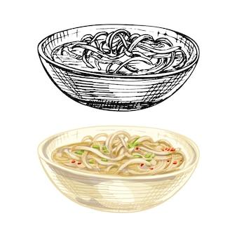 Zuppa di tagliatelle nel piatto. illustrazione disegnata a mano di colore di tratteggio di vettore dell'annata isolata su fondo bianco