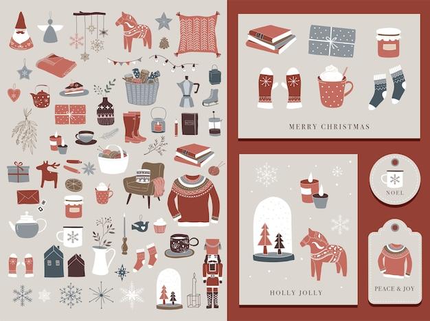 Elementi invernali nordici e scandinavi e concept design hygge, cartolina di buon natale, etichetta e tag.