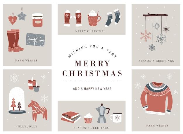 Elementi invernali nordici, scandinavi e concetto hygge, set di cartoline di buon natale
