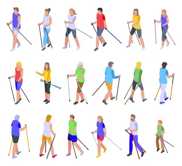 Set di icone di nordic walking. insieme isometrico delle icone di nordic walking per il web isolato su priorità bassa bianca