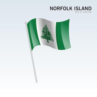 Isola di norfolk sventola bandiera isolata su gray