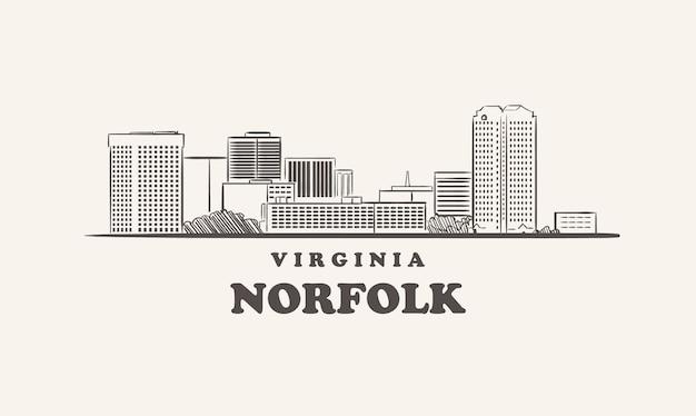 Schizzo disegnato della virginia dell'orizzonte di norfolk