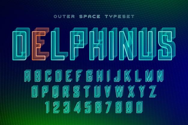 Norma carattere futuristico decorativo, alfabeto