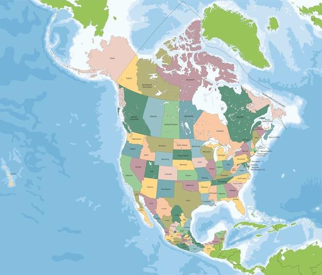Mappa del nord america con stati uniti, canada e messico