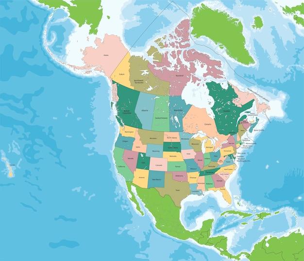 Mappa del nord america con stati uniti e canada