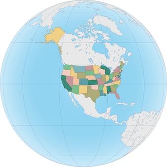 America del nord con gli stati uniti sul globo