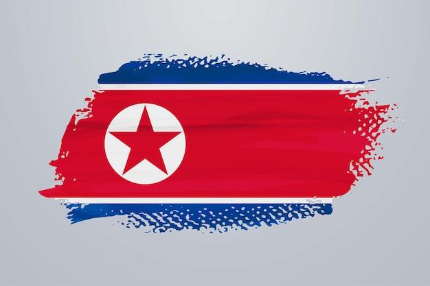 Bandiera della corea del nord con vernice a pennello