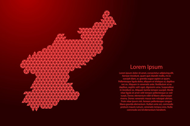 Mappa della corea del nord schematica astratta da triangoli rossi ripetendo geometrica con nodi per banner, poster, cartolina d'auguri. .